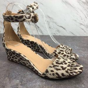 J.Crew Laila Wedges Sandals Leopard Animal Print